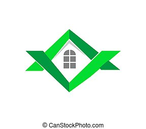 immobiliers, compagnie, construction, vide, logo