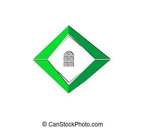 immobiliers, compagnie, construction, vide, logo, ou