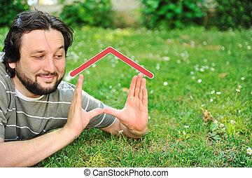 immobiliers, concept, maison, rêver, mains, homme