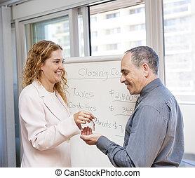 immobiliers, donner, agent, clés, client
