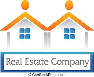 immobiliers, figure, maisons, logo, icône