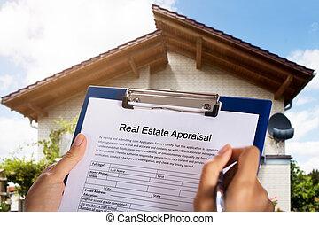 immobiliers, formulaire, personne, remplissage, estimation
