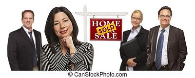immobiliers, gens, vendu, isolé, signe, course, mélangé
