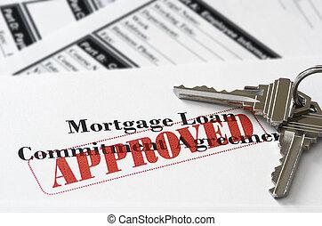 immobiliers, hypothèque, approuvé, prêt, document