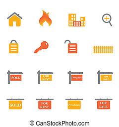 immobiliers, icônes, et, symboles