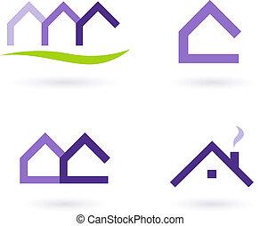 immobiliers, icônes, pourpre, -, vecteur, vert, logo