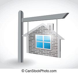 immobiliers, illustration, signe, conception, maison