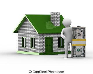 immobiliers, image, isolé, sale., blanc, 3d