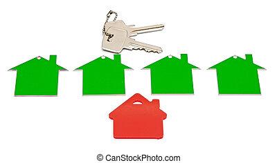 immobiliers, isolé, signe, arrière-plan., blanc