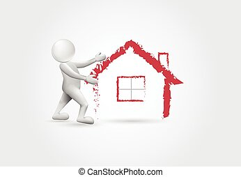 immobiliers, maison, -3d, blanc, gens, logo