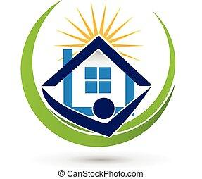 immobiliers, maison, agent, soleil, logo