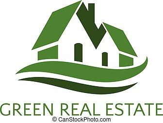immobiliers, maison, business., illustration, vecteur, icône