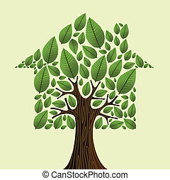 immobiliers, maison, concept., arbre, vert