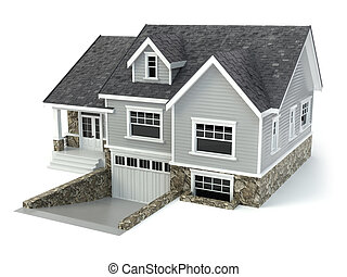 immobiliers, maison, concept., isolé, white.