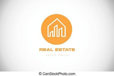 immobiliers, maison, conception, maison, logo, icône