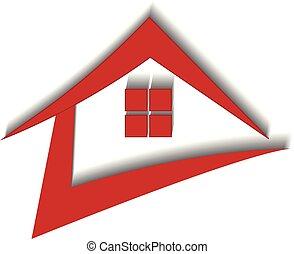 immobiliers, maison, dynamique, vecteur, logo, rouges