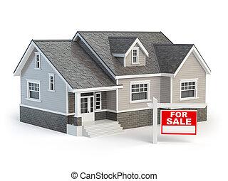 immobiliers, maison, isolé, vente, blanc, signe