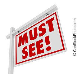 immobiliers, maison, signe vente, voir, maison, ouvert, devoir