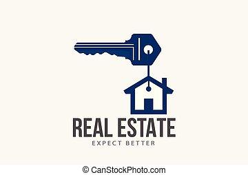 immobiliers, maison, symbole., clã©, maison, anneau