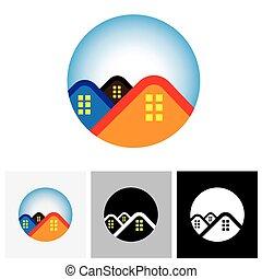 immobiliers, &, ), maison, symbole, -, vecteur, (, maison, logo, résidence, icône