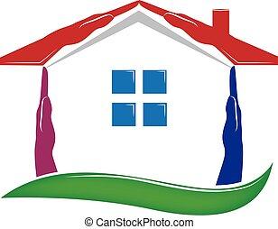 immobiliers, maison, vecteur, mains, logo