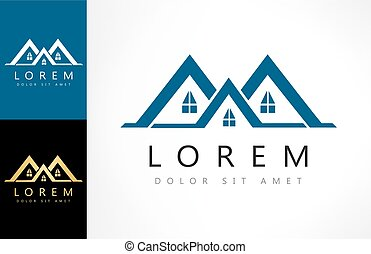 immobiliers, maison, vector., logo, design.