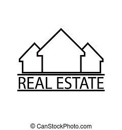 immobiliers, maisons, ligne mince, icône