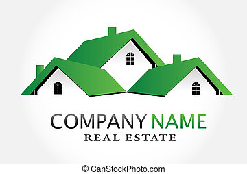 immobiliers, maisons, vecteur, vert, logo