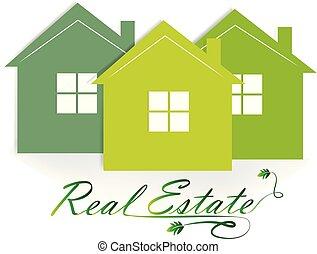 immobiliers, maisons, vert, logo, icône