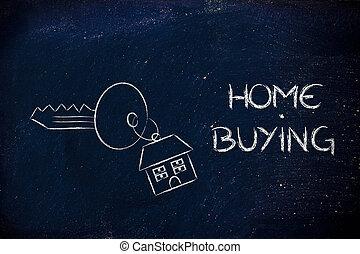 immobiliers, marché, achat maison, et, vente
