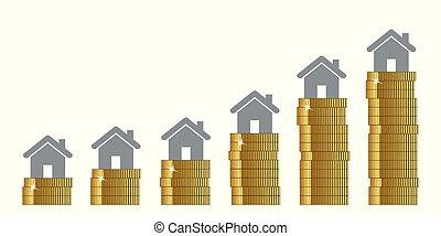 immobiliers, monter, hauteur, élevé, prix, propriété