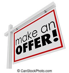 immobiliers, offre, faire, signe vente, mots, acheteur, coût