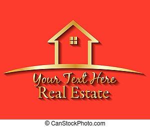 immobiliers, or, maison, vecteur, logo