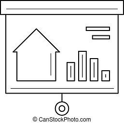 immobiliers, planche, icon., présentation, marché