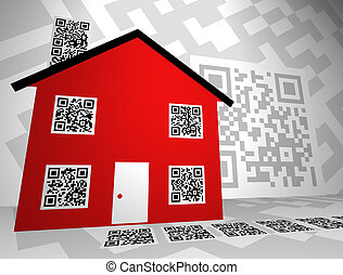 immobiliers, themed, qr, codes, concept, conception