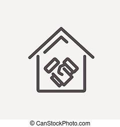 immobiliers, transactions, réussi, ligne mince, icône