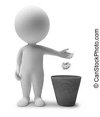 immondizia, persone, -, piccolo, cesto, 3d