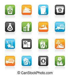 immondizia, rifiuti, icone