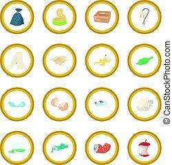 immondizia, set, icona, cerchio