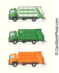 immondizia, tre, camion, equipment., utilization, isolato, bianco, fondo.