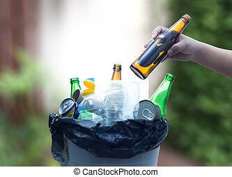 immondizia, vetro, rifiuto, ridurre, riciclabile, plastica, ...