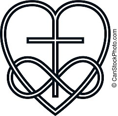 Immortal God Christian Love conceptual logo design combined with infinity loop sign and Christian Cross and heart, vector creative symbol.