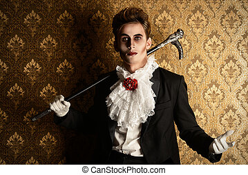 immortal - Portrait of a handsome male vampire over vintage...