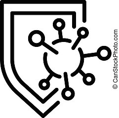 immun, skydda, skissera, skydd, stil, ikon
