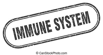 immune system stamp. rounded grunge textured sign. Label - ...