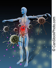 Protected individual repelling bacteria and viruses. Properly grouped with high resolution