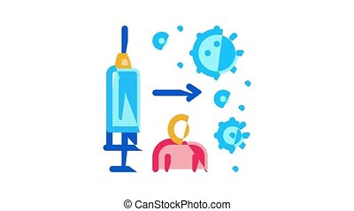 Immunity Human Biological Defense Icon Animation Protective Bacterias, Syringe And Shield, Vitamin And Healthcare Pills For Immunity