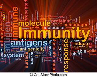 Background concept wordcloud illustration of medical health immunity glowing light