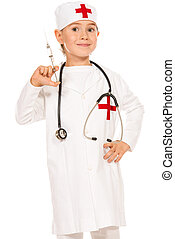 Happy cute boy playing a doctor. Different occupations. Isolated over white.