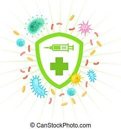 immunologi, skydda, vaccinera, skydd, affisch, concept., ...